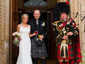 bride groom and piper